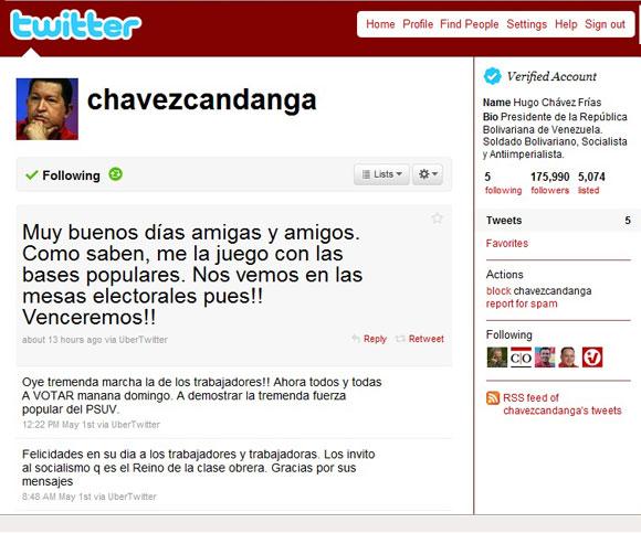 @chavezcandanga, usuario del Presidente Chávez en la red social Twitter