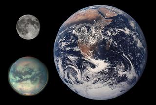 Comparación entre la Tierra, la Luna y Titán