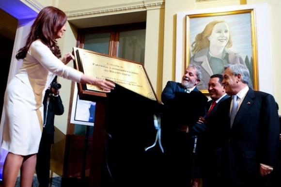 Cristina Fernández y otros mandatarios latinoamericanos en la inauguración de la Galería de Patriotas Latinoamericanos