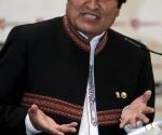 El presidente de Bolivia, Evo Morales, durante su intervención en el desayuno informativo que protagonizó hoy en Madrid. Foto:EFE