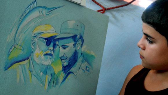 """Inauguración de la exposición """"Hemingway, Fidel y Cojimar"""", en la Terraza de Cojimar, en Ciudad de La Habana, el 12 de mayo de 2010, con motivo del aniversario 50 del encuentro de Fidel y Ernest Hemingway. AIN Foto: Marcelino VAZQUEZ HERNANDEZ"""