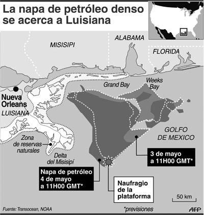 Infografía del avance del crudo en el mar del Golfo de México