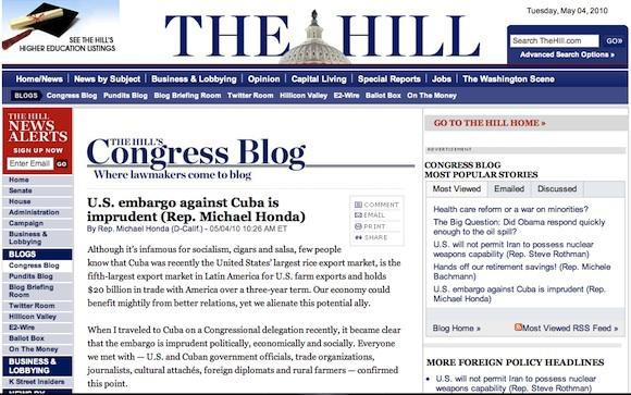 """The Hill: """"U.S. embargo against Cuba is imprudent (Rep. Michael Honda)"""": El embargo de EEUU contra Cuba es imprudente (Michael Honda)"""