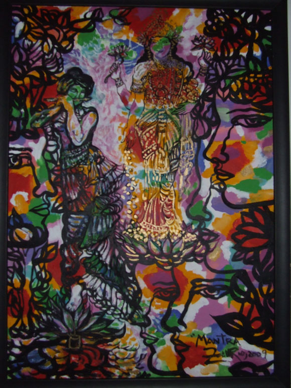 """Cuadro perteneciente a la colección """"La Danza Cósmica de Shiva"""", de Zaida del Río. Foto: Marianela Dufflar"""