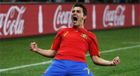 David Villa imponiendo récords para España en Copas del Mundo