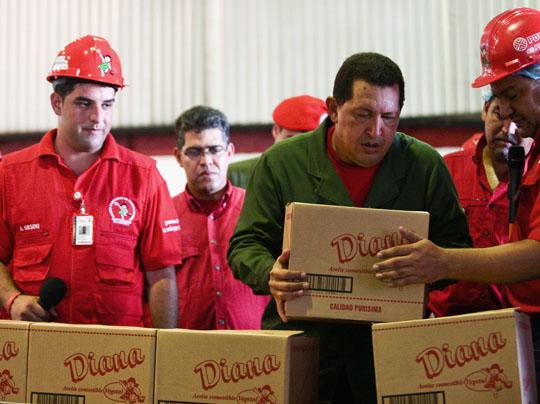 Acto Empresa Socialista Aceite Diana en Valencia, Carabobo celebrado el 2 de junio de 2010. Foto Prensa Miraflores