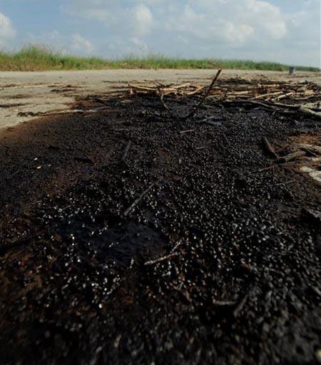 """Vista de restos del vertido del pozo """"Deepwater Horizon"""" en Grand Terre Island, cerca de Grand Isle (Luisiana, golfo de México, Estados Unidos). Foto: EFE/Tannen Maury"""