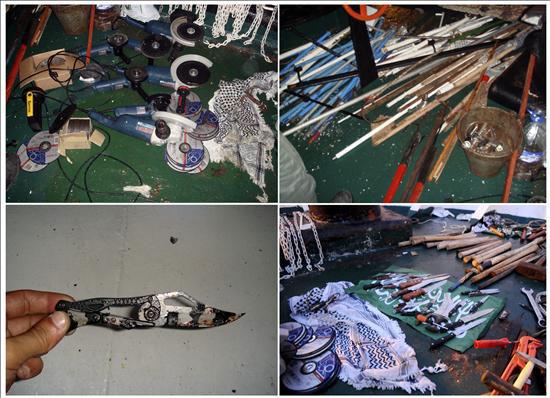 """Combo de fotografías cedidas por el portavoz de las Fuerzas de Defensa Israelí hoy, martes de 1 de junio de 2010, que muestra las armas encontradas a bordo de la """"Flotilla de la Libertad"""", un grupo de barcos cargados con ayuda humanitaria con destino a Gaza que fue asaltado el pasado lunes en aguas internacionales por militares israelíes. EFE/Portavoz de las Fuerzas de Defensa Israelí"""