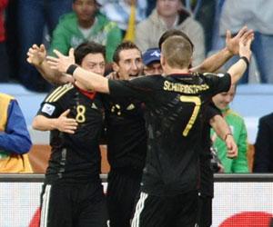 Alemania le gana a Argentina 4-0 en Copa Mundial de Fútbol, Sudáfrica 2010. Foto: AFP