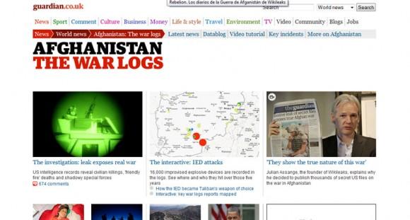 Presentación de los Diarios de Afganistan en The Guardian