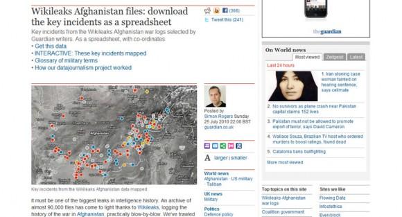 Selección de The Guardian de los sucesos clave procedentes de los archivos de Afganistán de Wikieleaks