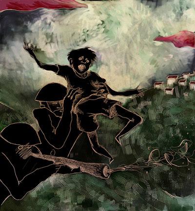 """Durante su recuperación realizó esta obra plástica que tituló """"Appropiated Memory I"""", inspirada en la tragedia del pueblo palestino"""