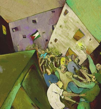 """Otra obra plástica, """"Appropiated Memory II"""" que es una representación de la demostración popular de protesta por la agresión israelí a la flotilla humanitaria que se dirigía a Gaza. En su blog escribió debajo de esta obra: """"Estaba demasiado aturdida por el gas lacrimógeno para ver esto"""""""