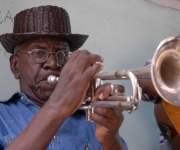 El Trompetista Inaudis Paisan en el 30 Festival del Caribe en Santiago de Cuba, el 6 de julio de 2010. AIN FOTO
