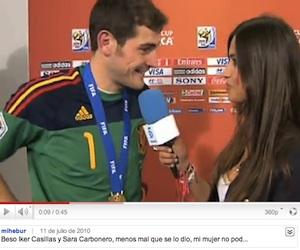 Casillas, beso y lágrimas con su novia periodista