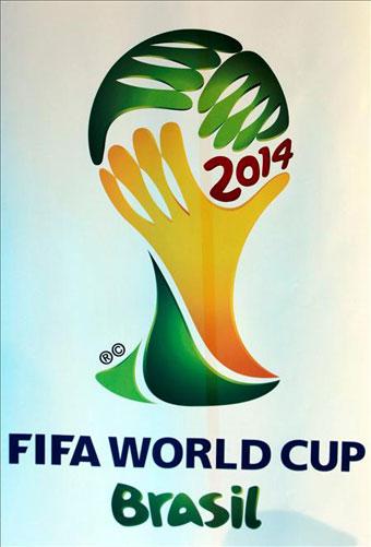 Logotipo oficial del Mundial de Fútbol de 2014, que tendrá como sede a Brasil,que ha sido presentado por el presidente de Brasil, Luiz Inácio Lula da Silva, en el transcurso de un acto celebrado esta tarde en Johannesburgo.EFE/Antonio Lacerda.