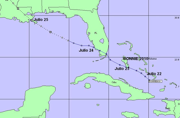 """TRAYECTORIA DE """"BONNIE"""". CRUZÓ POR EL SUR DE LA FLORIDA EL 23 DE JULIO AL FINAL DEL DÍA"""