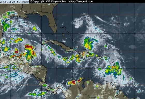 Imagen del satélite, miércoles 21 de julio de 2010. Imagen: Sitio Web del Instituto de Meteorología de Cuba
