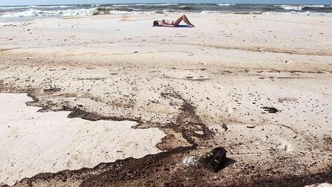 Playa de Texas con chapapote