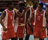 El equipo cubano de Voleibol.