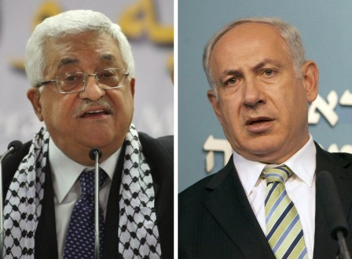 El presidente de la Autoridad Palestina, Mahmud Abas (I) y el primer ministro israelí, Benjamin Netanyahu. Foto: AFP