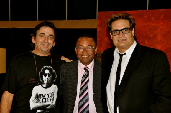 Rafael Solís (director de fotografía del programa), Adalberto y Amaury. Foto: Petí