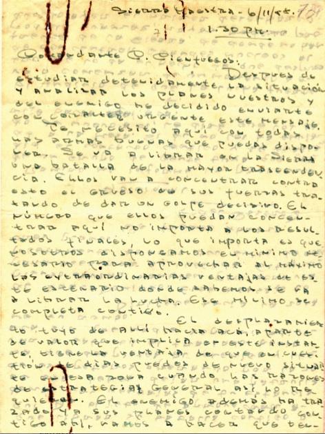 Orden de Fidel a Camilo para que se trasladara de los llanos del Cauto a la zona del Primer Frente en la Sierra Maestra, con vistas a reforzar la defensa del territorio rebelde contra la ofensiva enemiga, 11 de junio de 1958.