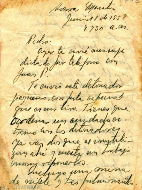 Carta de Fidel a Pedro Miret con indicaciones precisas sobre la resis- tencia en la costa y el envío de armamento, 11 de junio de 1958.