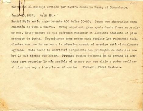 Mensaje de Fidel a Ramiro Valdés, Ramirito, sobre el envío de 400 balas 30.06, 13 de junio de 1958.