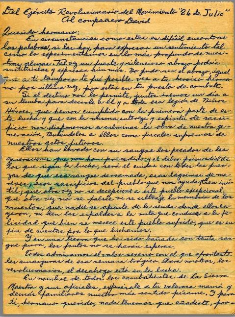 Carta por la muerte de Josué País