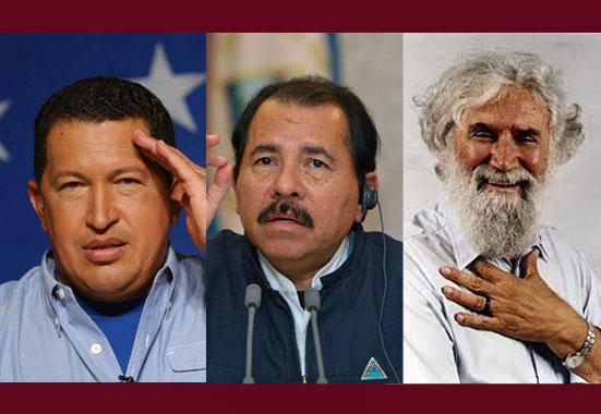 Hugo Chávez, Daniel Ortega, Leonardo Boff