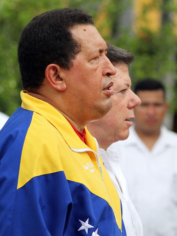 Chávez y Santos en Santa Marta, Colombia. Foto: Prensa Miraflores