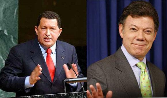 Hugo Chávez y José Manuel Santos
