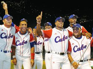 El equipo cubano celebra la victoria