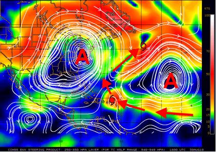 ¨Danielle¨, ¨Earl¨y ¨Fiona¨ siguen la periferia del Anticiclón del Atlántico. En el mapa la circulación entre 1,5 km y 12 km de altura