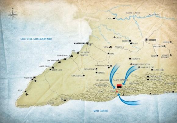 Maniobra realizada para el Plan F-F. Mayo-junio-julio de 1958. La ofensiva de verano intentó la penetración en el territorio rebelde por tres direcciones principales.