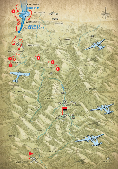 Inicio de las acciones en la dirección Estrada Palma-Las Mercedes. El día 25 de mayo de 1958 se desata la ofensiva enemiga contra el Ejército Rebelde.