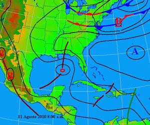 Mapa del Tiempo, miércoles 11 de agosto de 2010