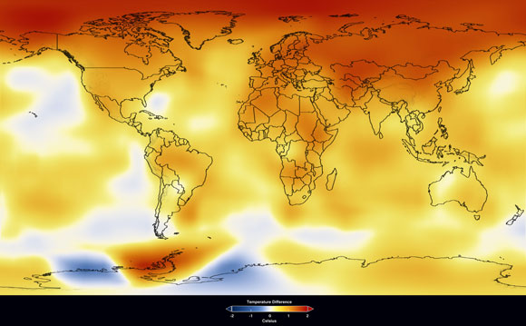 Mapa del Goddard Institute for Space Studies donde se muestra el promedio de anomalías de temperatura en un periodo de 10 años (2000-2009) relativa a la media de 1951-1980. En rojo las temperaturas más altas en el Ártico, península Antártica y los continentes. (Imagen: NASA/GISS).