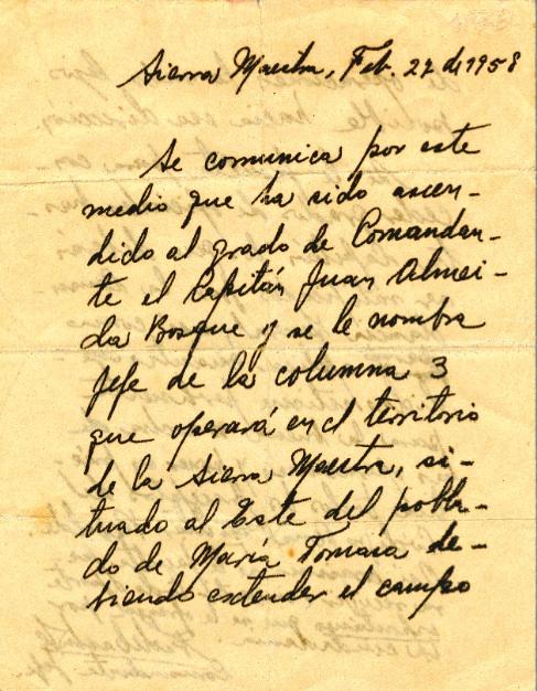 Carta de Fidel del 27 de febrero de 1958