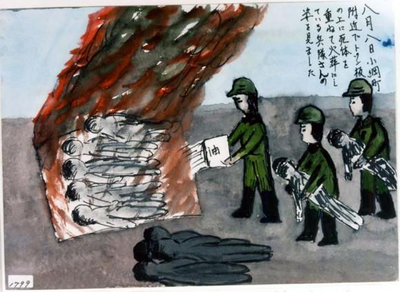 Amano Katsuko-14-soldados incineran cadáveres