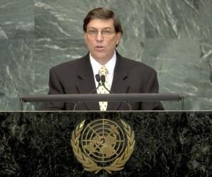 Bruno Rodríguez Parrilla, ministro de Relaciones Exteriores de Cuba, interviene en la Cumbre de Desarrollo del Milenio, que se celebra en la sede de las Naciones Unidas, en la ciudad de Nueva York, Estados Unidos, el 21 de septiembre de 2010. AIN FOTO/DO