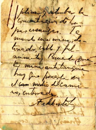 Mensaje de Fidel a Camilo con la indicación de colocar una mina en medio del camino para evitar la retirada enemiga, 2 de agosto de 1958.