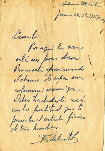 Mensaje de Fidel a Camilo en el que le informa sobre la posibilidad de copar una columna enemiga, y le ordena trasladarse a la zona de operaciones, 27 de junio de 1958.