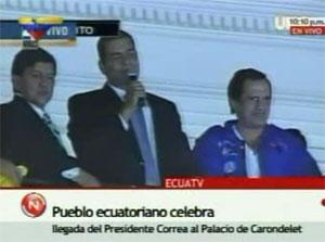 Luego de ser rescatado, el presidente Rafael Correa fue rescatado y ha llegado al Palacio de Carondelet.