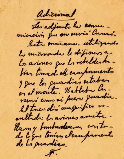 Páginas del mensaje de Fidel dirigido a los capitanes Andrés Cuevas, Lalo Sardiñas y Ramón Paz, en el que les cursa órdenes y les señala las posiciones y los movimientos para rechazar los refuerzos enemigos, 16 de julio de 1958.