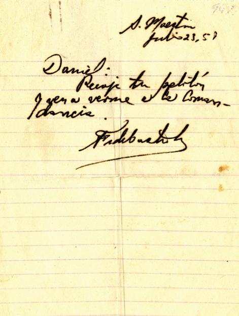 Mensaje de Fidel al comandante Daniel pidiéndole que se presente con su pelotón, 23 de julio de 1958.