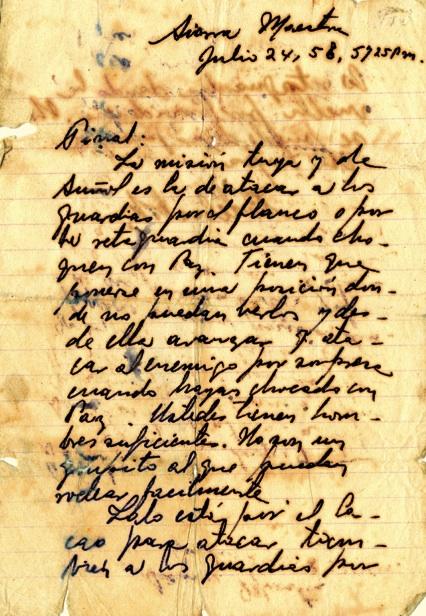 Mensaje del Comandante Fidel a Antonio Sánchez Díaz, conocido por Pinal o Pinares, con órdenes precisas, 24 de julio de 1958.