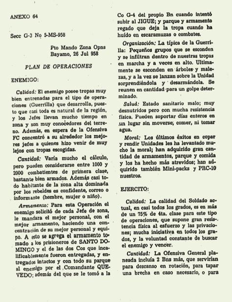 Primera página del Plan de Operaciones del enemigo, donde se re- conoce el buen entrenamiento, la resistencia física y la moral de los hombres de la guerrilla y la pésima calidad de los soldados del Ejército batistiano, 26 de julio de 1958.
