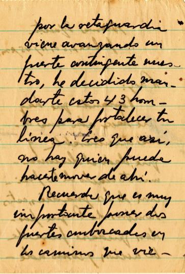 Mensaje del Comandante en Jefe al capitán Ramón Paz, con instruc- ciones de ocupar posiciones, 27 de julio de 1958.